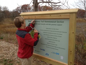 Madison's Eric Marsh constructed a beautiful sitting area and Trailhead sign