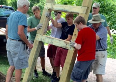 Scouts Building the Kiosk